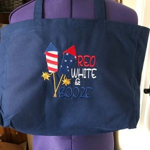Gorgeous Embroidered Navy Canvas Tote